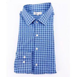 PETER MILLAR Summer Comfort XL Blue Plaid Shirt